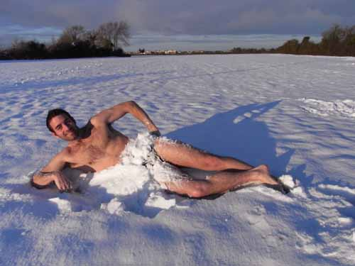 Tony naked in the snow