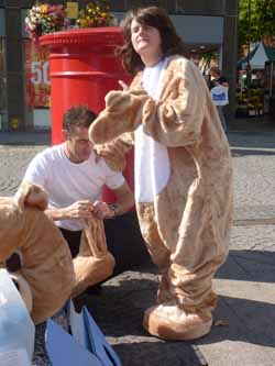 Mum in bear suit