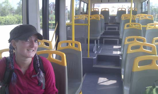 Empty shuttle bus